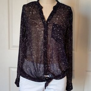 OVI sheer  blouse  tie up